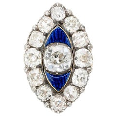 Early Victorian 18K Yellow Gold, Silver and 6.0Cts Diamonds and Blue Enamel Ring