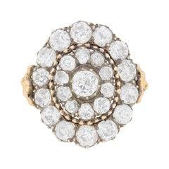 Early Victorian 3.00 Carat Diamond Cluster Ring, circa 1840-1845
