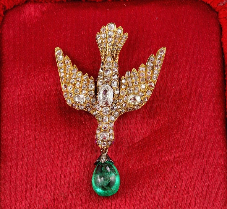 Early Victorian 4 35 Carat Colombian Emerald 4 0 Carat