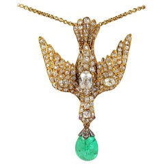 Early Victorian 4.35 Carat Colombian Emerald 4.0 Carat Diamond Dove Saint Esprit