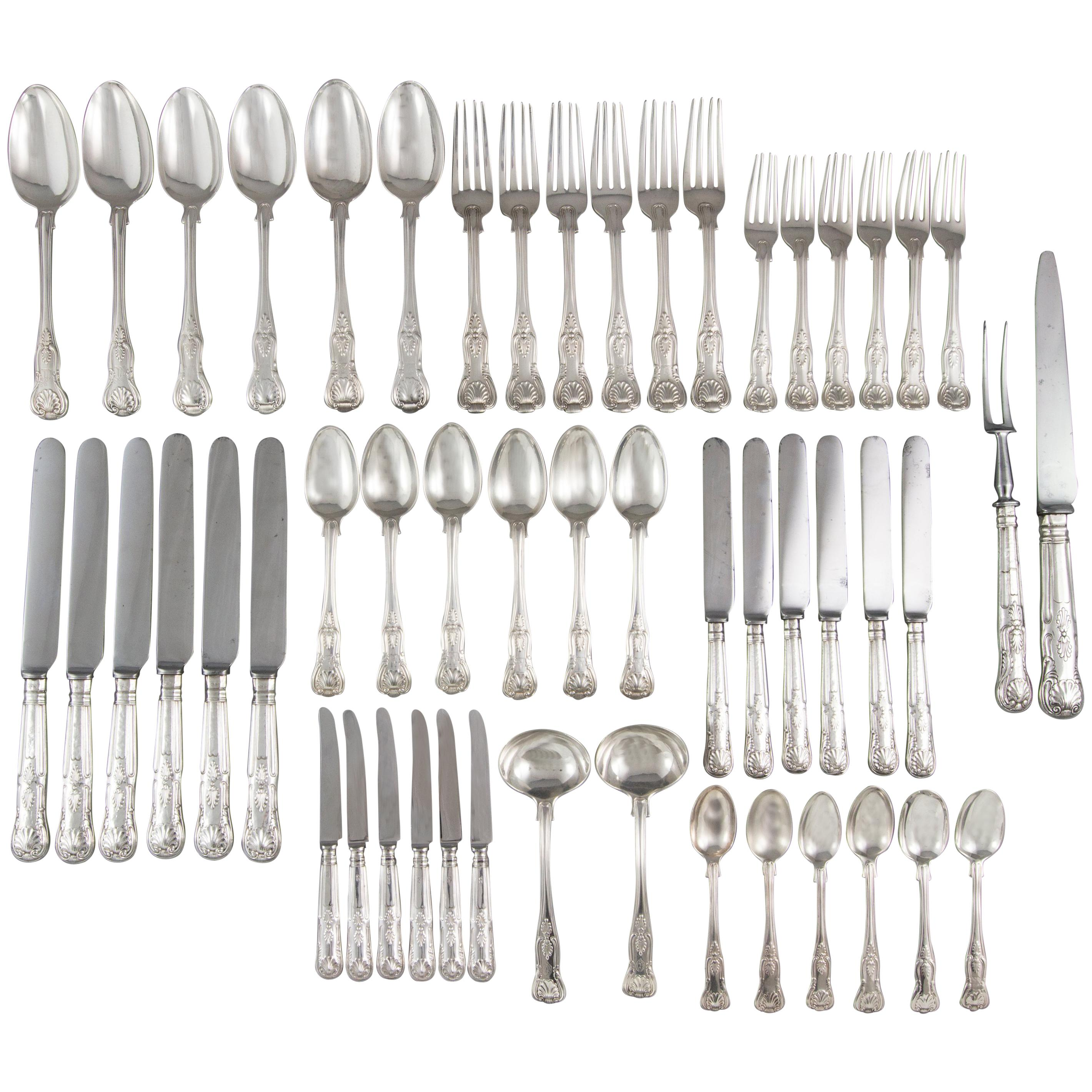 Early Victorian 6 Place Silver Kings Pattern Canteen by George Adams