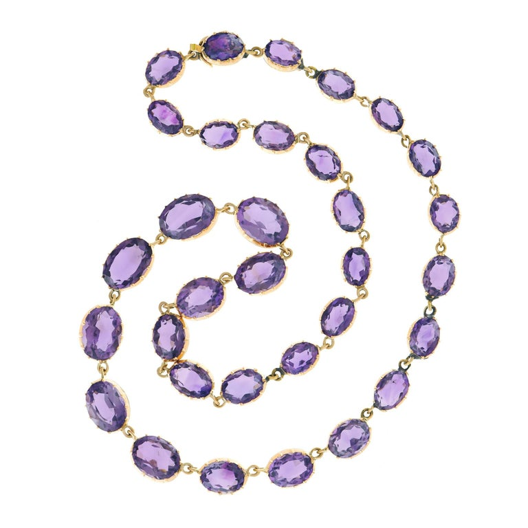 Early Victorian Amethyst Set Gold Necklace