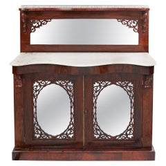 Early Victorian Antique Rosewood Marble-Top Chiffonier