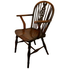 Early Victorian Beech and Elm Wheel Back Carver Chair