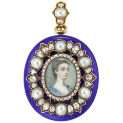 Early Victorian Blue Enamel, Pearl and Diamond Locket