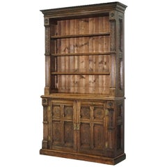 Early Victorian Bookcase in the Gothic Pugin Manor Hand-Carved Solid English Oak