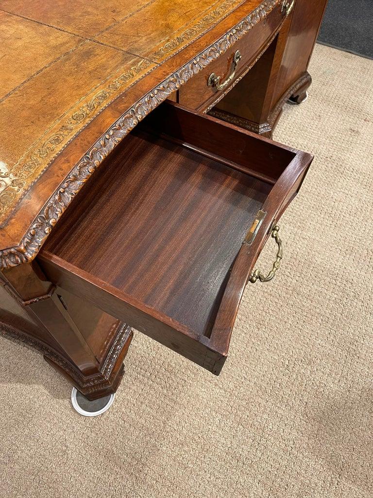 Early Victorian Burl Walnut 2 Pedestal Desk For Sale 10