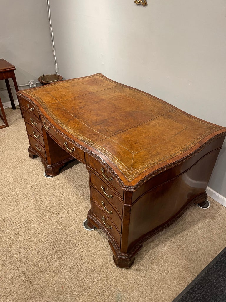Early Victorian Burl Walnut 2 Pedestal Desk For Sale 11