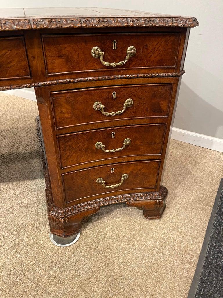 Early Victorian Burl Walnut 2 Pedestal Desk For Sale 5