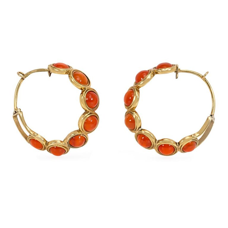 Cabochon Early Victorian Carnelian Gold Hoop Earrings For Sale