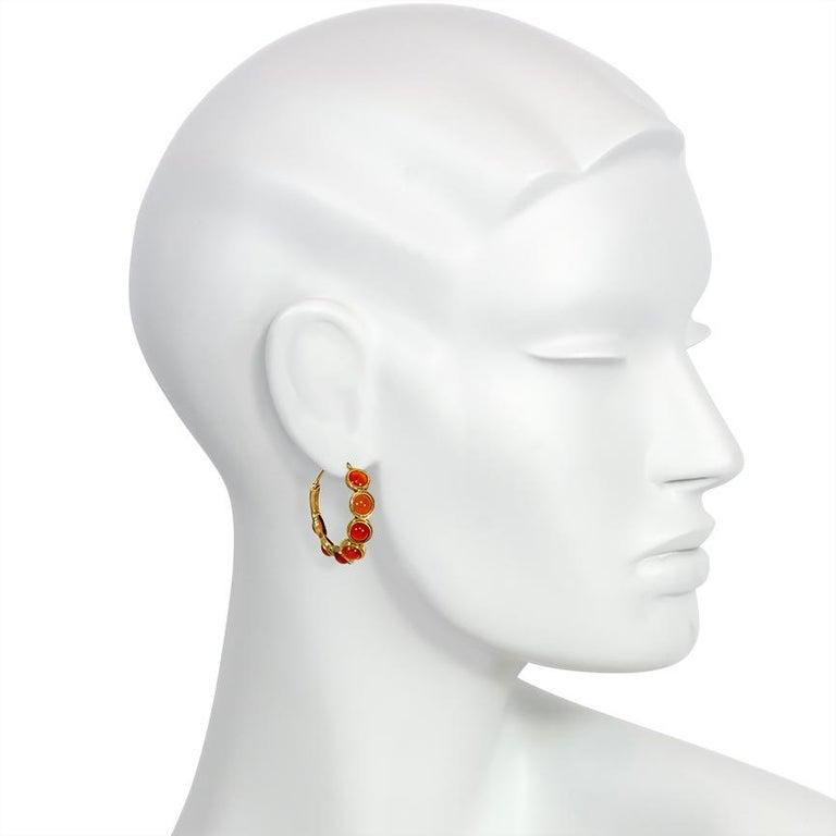 Women's or Men's Early Victorian Carnelian Gold Hoop Earrings For Sale