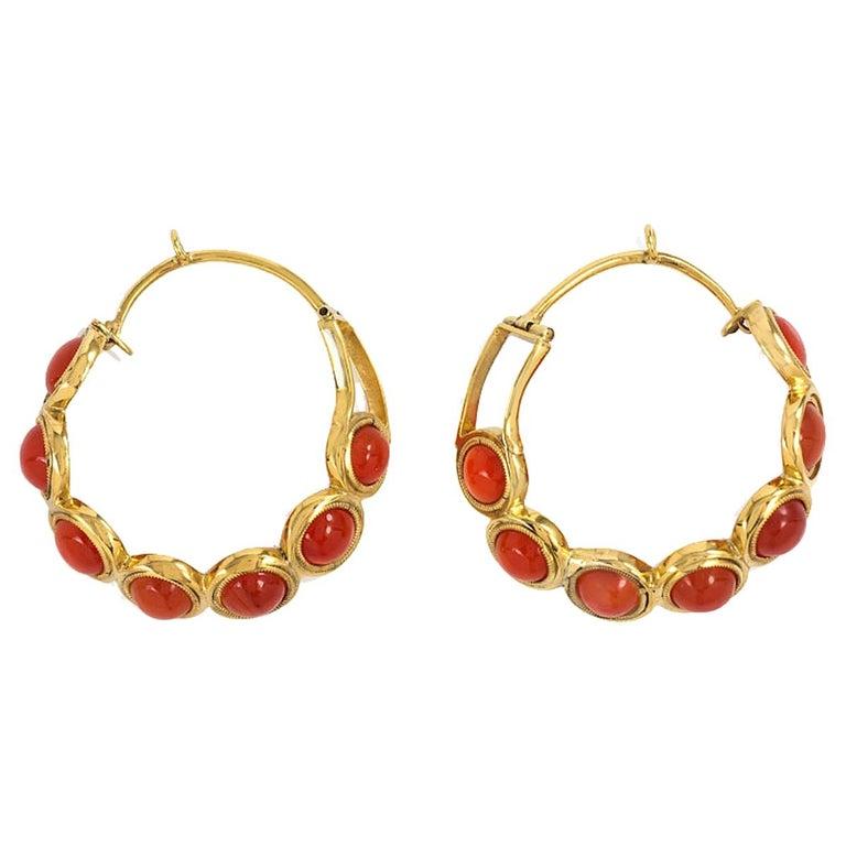 Early Victorian Carnelian Gold Hoop Earrings For Sale