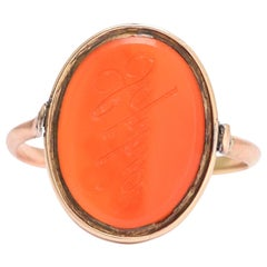 Early Victorian Carnelian Spinner Signet Ring