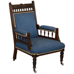 Early Victorian Carved Hardwood Library Reading Armchair Regency Blue Upholstery