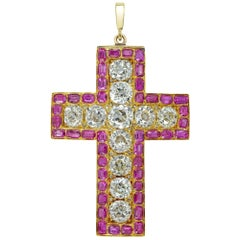 Early Victorian Diamond and Ruby Cross