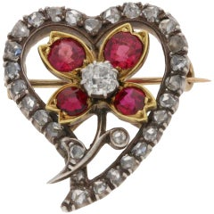 Early Victorian Diamond and Ruby Flower Heart Brooch/Pendant in Silver on Gold
