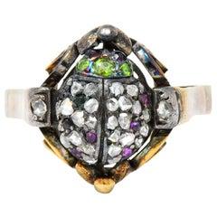 Early Victorian Diamond Ruby Demantoid Garnet 14 Karat Gold Silver Beetle Ring
