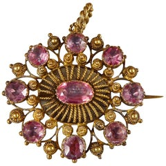 Early Victorian Foiled Back Pink Gemstone Brooch and Pendant in 15 Carat Gold