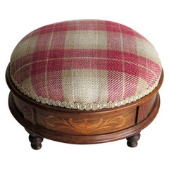 Early Victorian Foot Stool Walnut with Marquetry Inlay Re-Upholstered circa 1845