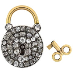 Early Victorian French 2.00 Total Carat Diamond Padlock and Key Pendant