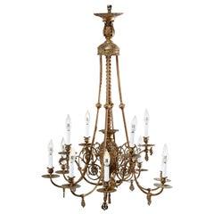 Early Victorian Gas & Electric Brass & Bronze Twelve Light Chandelier, c1870