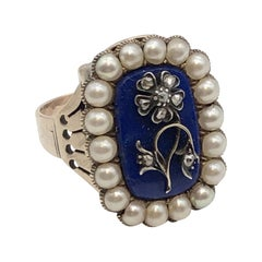 Early Victorian Large Gold Lapis Pearl and Diamond Ring