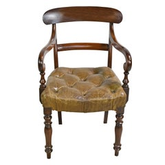 Early Victorian Mahogany Armchair with Tufted Leather Upholstery, England
