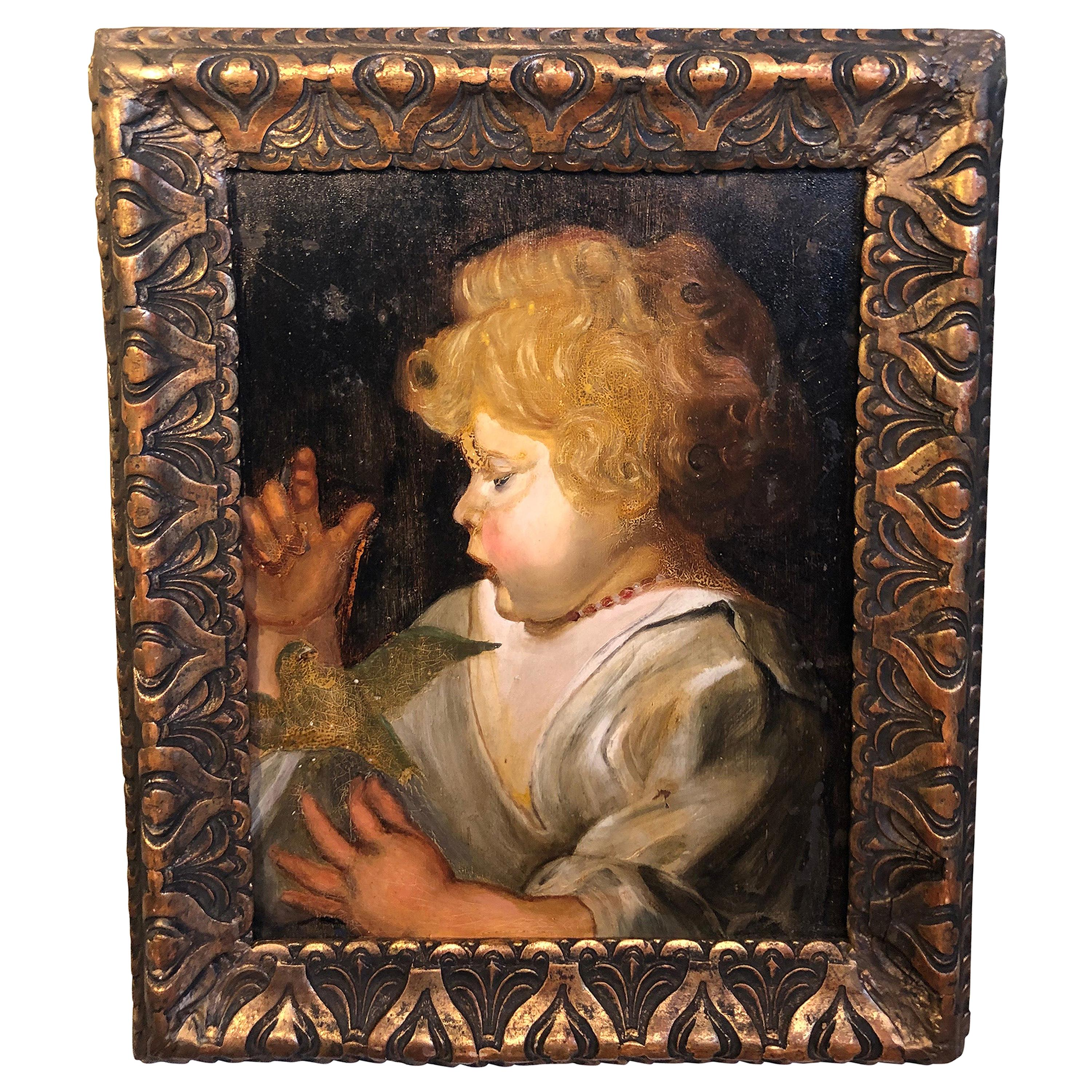 Early Victorian Portrait of a Child with Bird