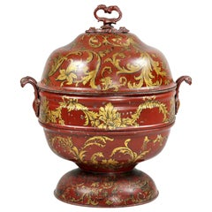 Early Victorian Red Tole Ware Coal Scuttle
