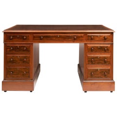 Early Victorian Rosewood Pedestal Writing Desk, circa 1840
