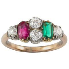 Early Victorian Ruby, Emerald and Diamond Ring