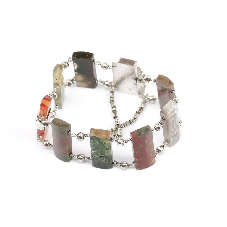 Uncut Early Victorian Scottish Agate Bracelet For Sale