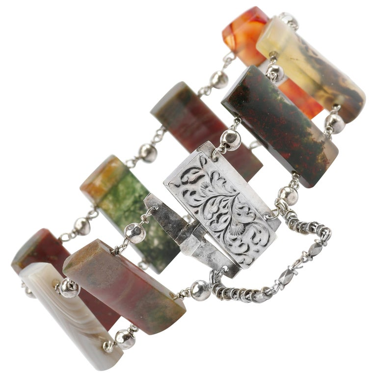 Early Victorian Scottish Agate Bracelet For Sale