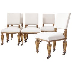 Early Victorian Set of Six Giltwood Dining Chairs