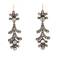 Early Victorian Silver-Topped Gold Rose Cut Diamond Pendant Earrings