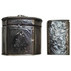Early Victorian Silver Vesta Case, Birmingham and Dutch Silver Box