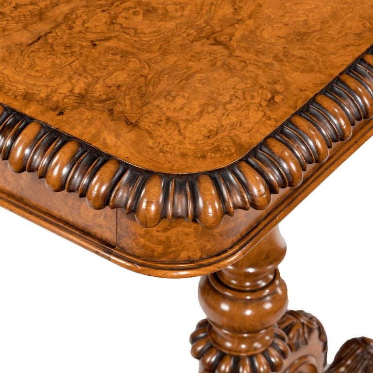 English Early Victorian Solid Walnut Library Table Made for Gillows by John Barrow For Sale