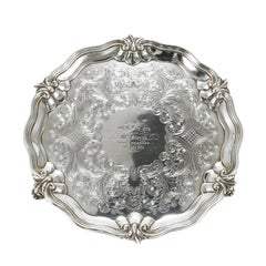 Early Victorian Sterling Silver Tray Charles Reily & George Storer, London 1841