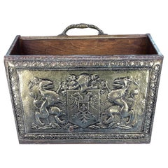 Early Victorian Style Brass Magazine Rack With Code Of Arms, Griffins And Eagles