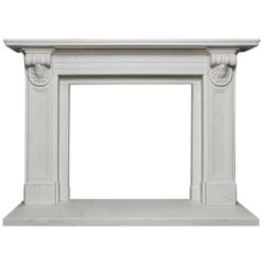Early Victorian Style Statuary Marble Corbel Fireplace Surround
