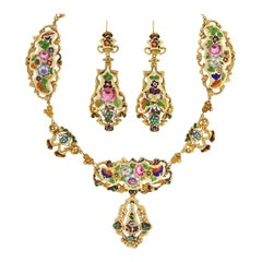 Early Victorian Swiss Enamel Necklace and Earring Set