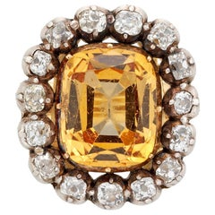 Early Victorian Topaz and Diamond Cluster Brooch