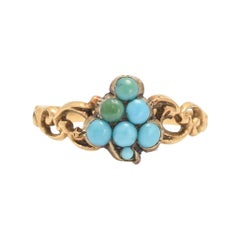 "Early Victorian Turquoise ""Grape Bunch"" Ring"
