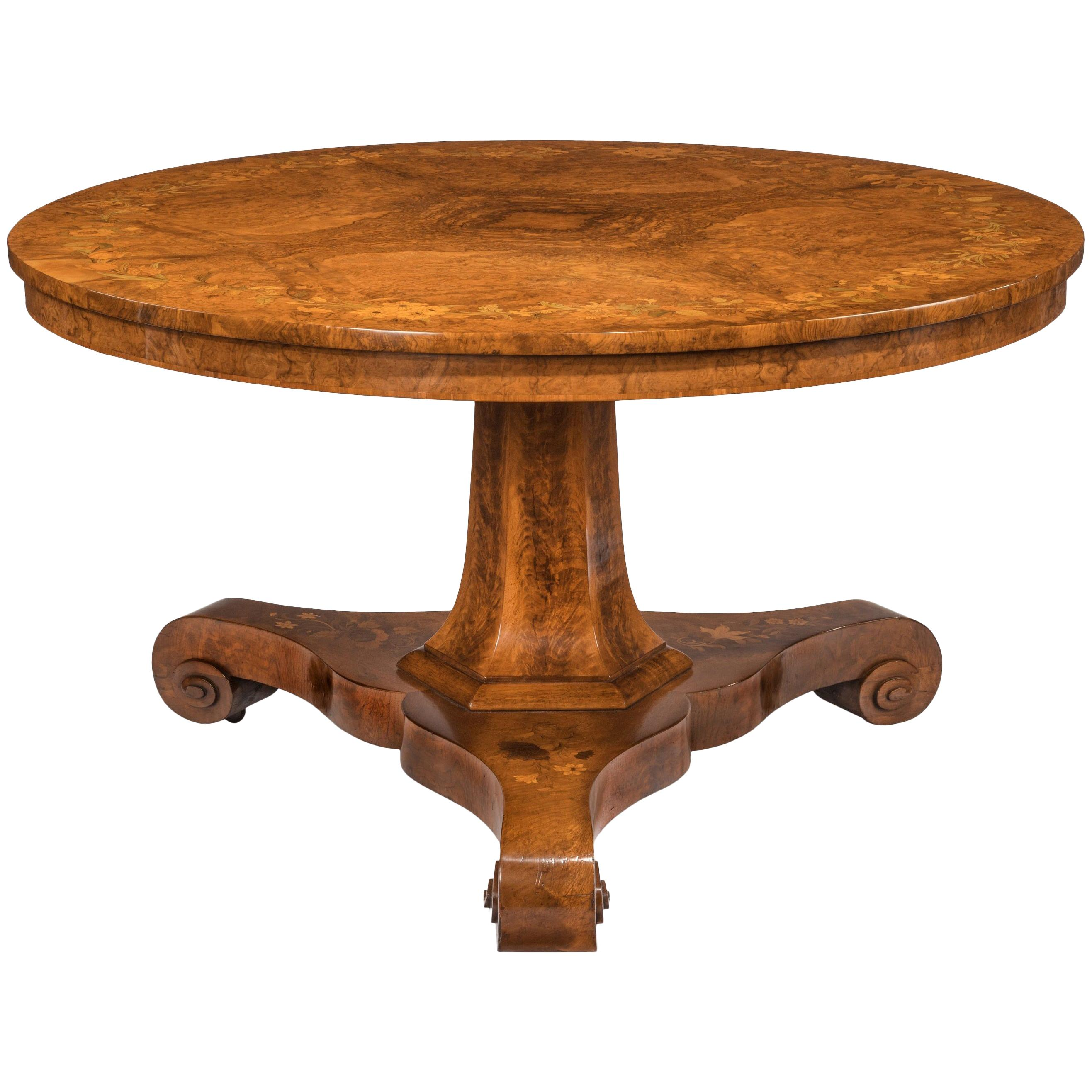 Early Victorian Walnut Marquetry Centre Table