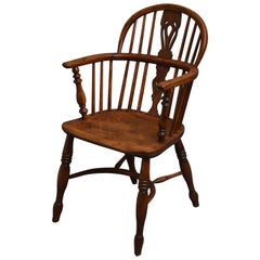 Early Victorian Yew Wood Windsor Chair