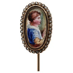 Early Victorian Young Boy Portrait Miniature Pearl 16 Karat Gold Stick Pin