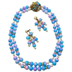 Early Vintage Miriam Haskell Rare Pink & Blue Glass Bead and Faux Pearl 2-Strand