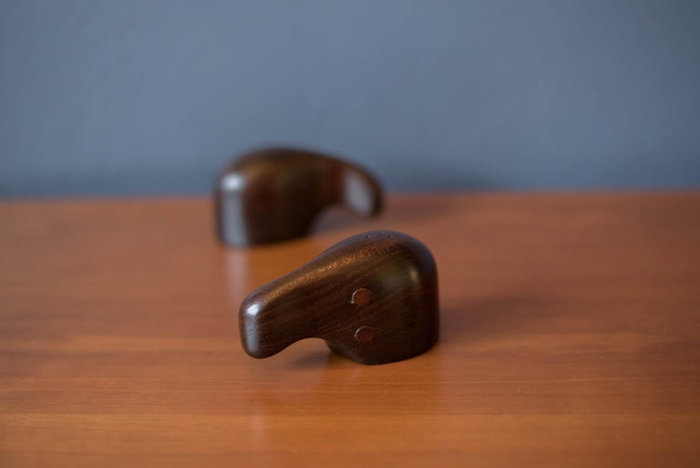 Mexican Early Vintage Rosewood Salt and Pepper Shaker Set by Don Shoemaker For Sale