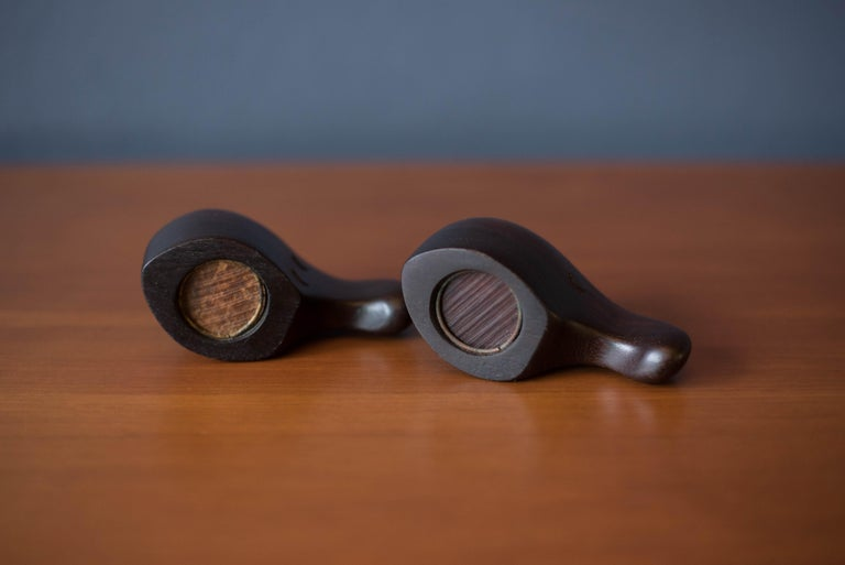 Mid-20th Century Early Vintage Rosewood Salt and Pepper Shaker Set by Don Shoemaker For Sale