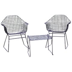 Early Vintage Table and Chairs in the Style of Harry Bertoia for Knoll, Set of 3